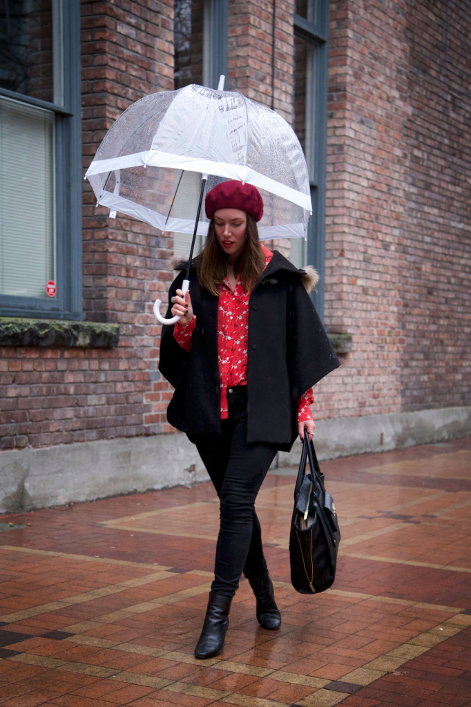 to vogue or bust, vancouver style blog, vancouver fashion blog, vancouver fashion, vancouver style, canadian fashion blog, alexandra grant, rainy day style, forever 21 skinny jeans, zara booties, american apparel beret, joe fresh silk blouse, noul fur trimmed cape, what to wear on a rainy day