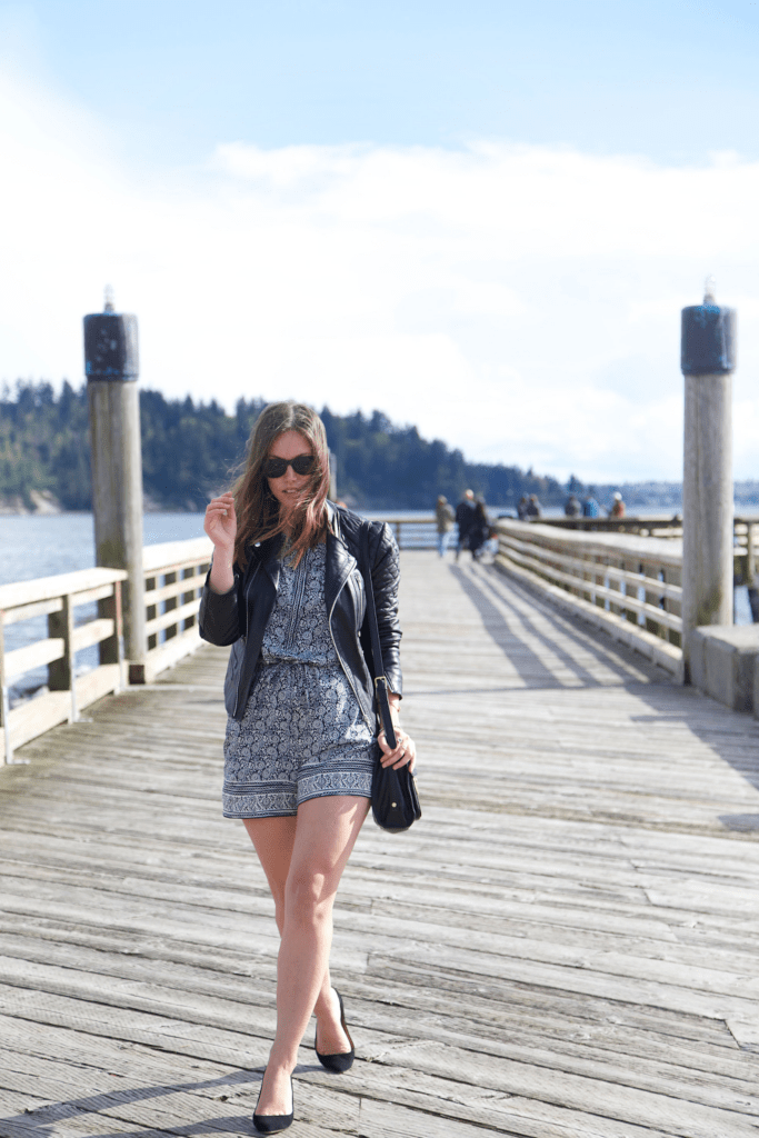 to vogue or bust, vancouver style blog, vancouver fashion blog, vancouver fashion, canadian fashion blog, alexandra grant, how to style a romper, spring style, loft romper, j.crew heels, 3.1 phillip lim bag for target, watler baker leather jacket, brooklyn designs jewelry