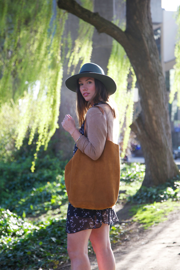 to vogue or bust, vancouver style blog, vancouver fashion blog, vancouver fashion, canadian fashion blog, alexandra grant, club monaco floral dress, brixton hat, old navy cardigan, old navy booties, massimo dutti bag, keltie leanne designs jewelry, spring style, floral style