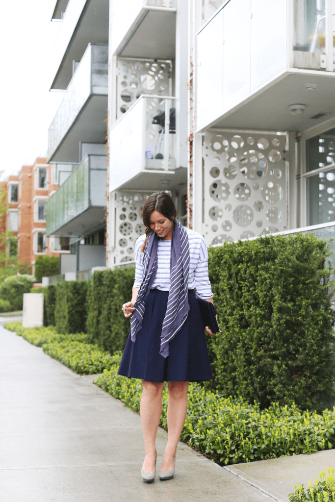 to vogue or bust, vancouver style blog, vancouver fashion blog, vancouver fashion, canadian fashion blog, alexandra grant, obakki skirt, 424 fifth sweater, club monaco scarf, michael kors heels, vintage bag, stripes on stripes, mixing stripes
