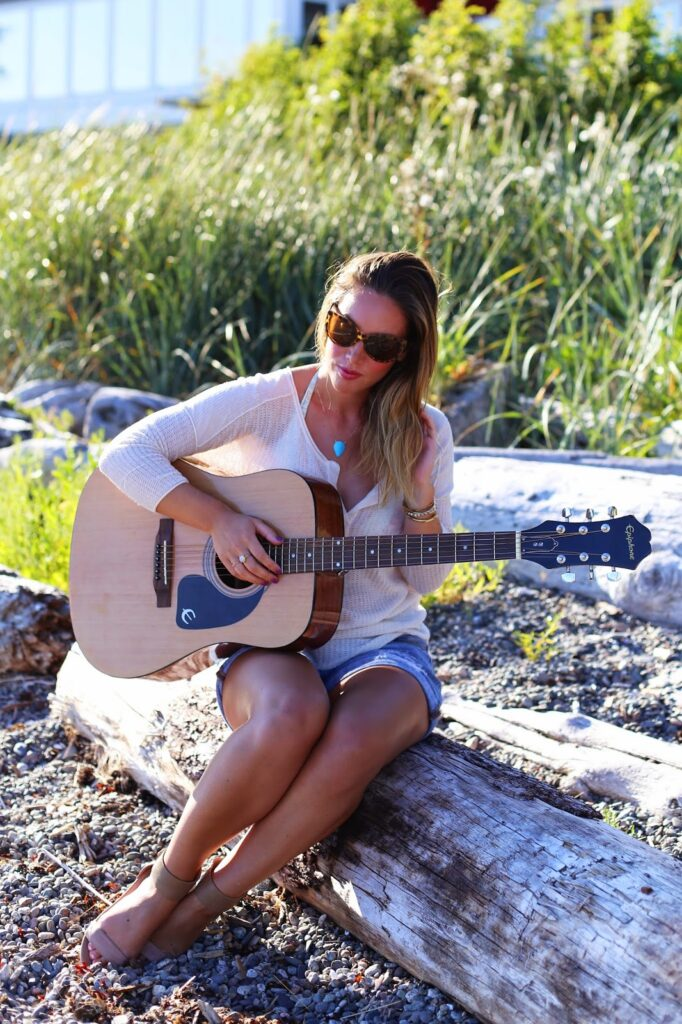 to vogue or bust, vancouver style blog, vancouver fashion blog, vancouver fashion, canadian fashion blog, canadian style blog, alexandra grant, how to style summer knits, gap boyfriend denim shorts, left on houston sweater, sole society kasie sandals, oneill bathing suit, sole society cat eye sunglasses, brooklyn designs jewelry necklace, viva blanca bracelet, epiphone guitar, guitar player style