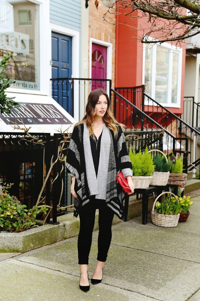 to vogue or bust, vancouver style blog, vancouver fashion blog, vancouver health blog, vancouver travel blog, canadian fashion blog, canadian style blog, canadian health blog, canadian travel blog, alexandra grant, how to dress like a parisian, parisian style guide, parisian chic, gentle fawn poncho, left on houston cardigan, joe fresh silk shirt, hudson skinny jeans, j.crew everly pumps, mary nichols bag, keltie leanne designs jewelry, how to style a red clutch, red pop of color, how to style a poncho, how to wear a poncho, poncho style tips, styling a poncho, how to layer sweater, layering sweater tips, parisian style, ombre brunette, how to get beachy waves, best fashion blogs, best style blogs, best travel blogs, best health blogs, top fashion blogs, top style blogs, top travel blogs, top health blogs