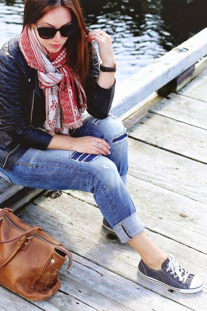to vogue or bust, vancouver style blog, vancouver fashion blog, vancouver lifestyle blog, vancouver fitness blog, vancouver health blog, vancouver travel blog, canadian fashion blog, canadian style blog, canadian lifestyle blog, canadian health blog, canadian fitness blog, canadian travel blog, alexandra grant, how to do a double knot scarf, how to tie your scarf into a rope knot, how to tie a scarf, how to tie an aritzia scarf, how to wear an aritzia scarf, aritzia rectangle scarf, aritzia scarf tutorial, scarf knot tutorial, walter baker leather jacket, gentle fawn striped top, silver jeans boyfriend jeans, converse sneakers, how to style converse sneakers, how to wear converse sneakers, how to wear boyfriend jeans, how to style boyfriend jeans, sole society sunglasses, roots tribe bag, best fashion blogs, best style blogs, best lifestyle blogs, best wellness blogs, best travel blogs, best fitness blogs, top fashion blogs, top style blogs, top lifestyle blogs, top wellness blogs, top travel blogs, top fitness blogs