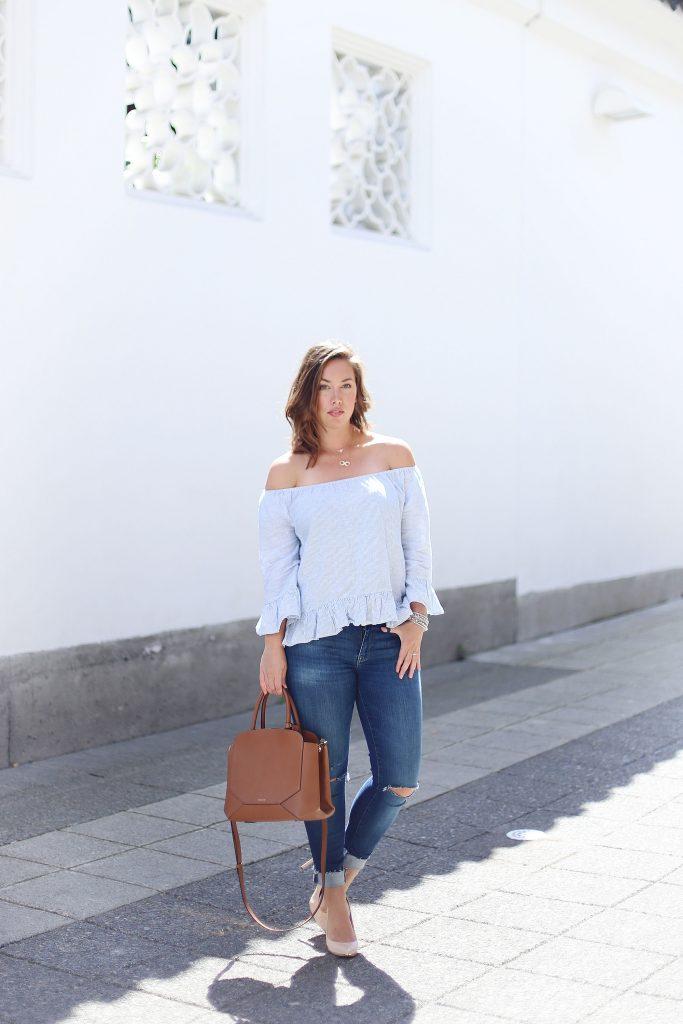 Sanctary clothing shirt, Mavi jeans, Aritzia Bega bag