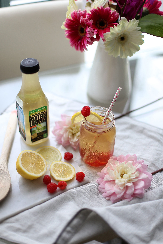 Raspberry lemon cocktail with Pure Leaf Iced Tea
