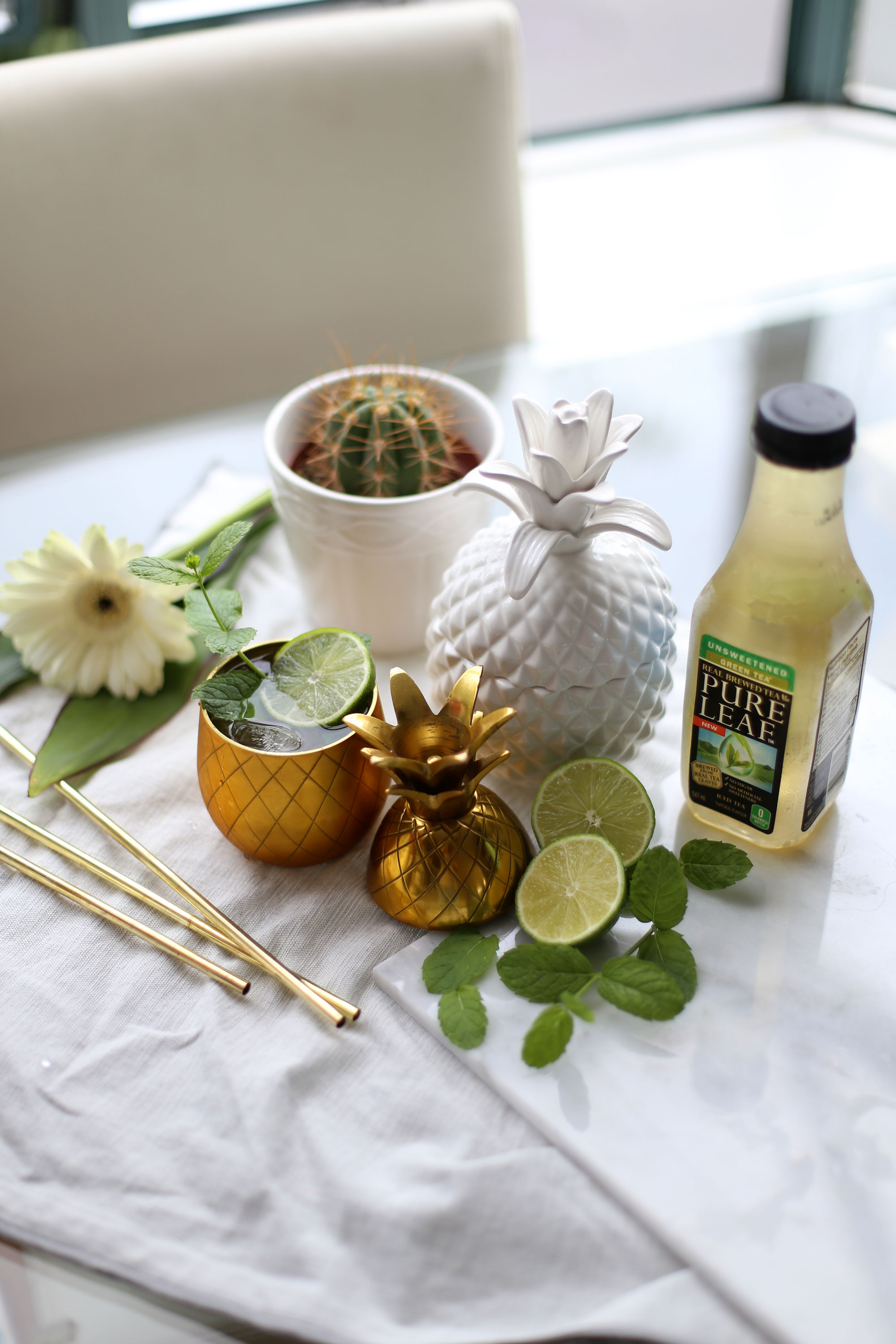 Mojito iced tea cocktail with Pure Leaf