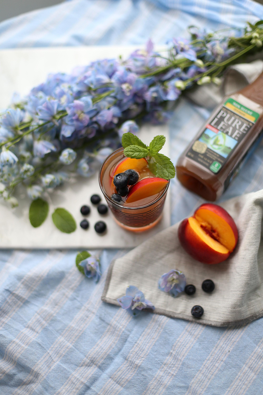 Blueberry peach bourbon cocktail with Pure Leaf Iced Tea