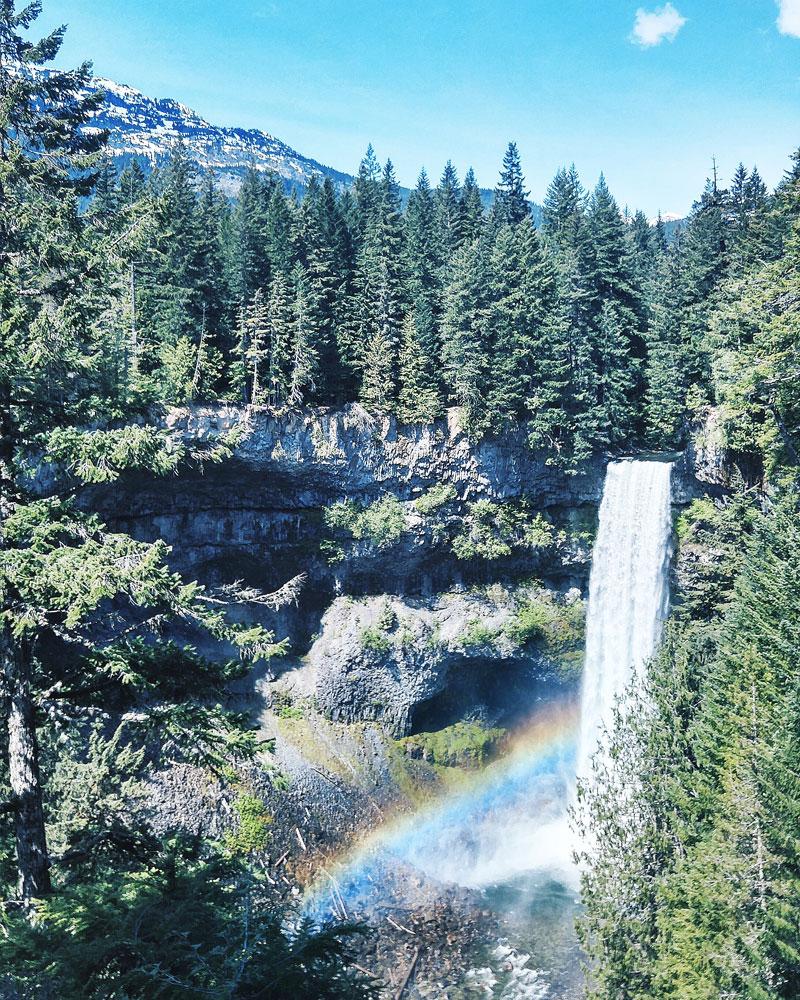 Rainbow over Brandywine Falls hike in Whistler, Canada