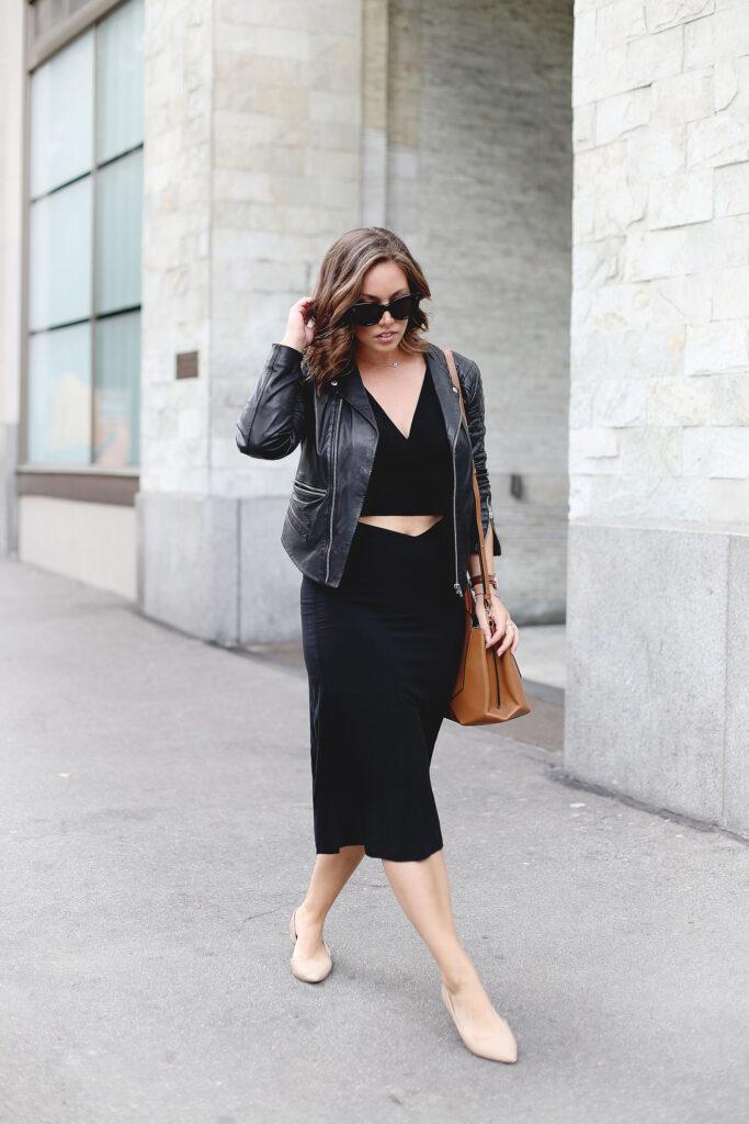 Crop top, midi skirt, leather jacket