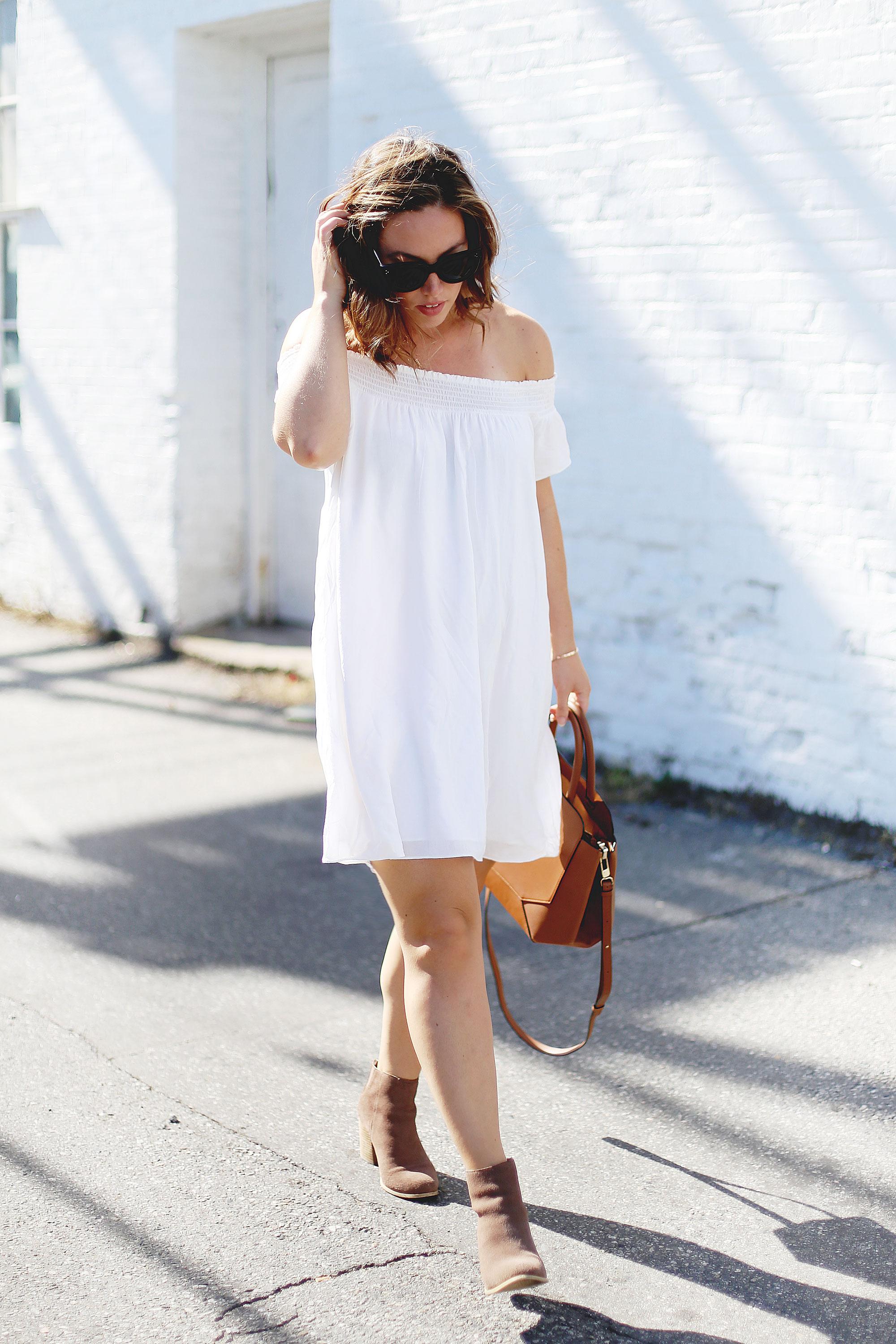 Off the shoulder dress styling