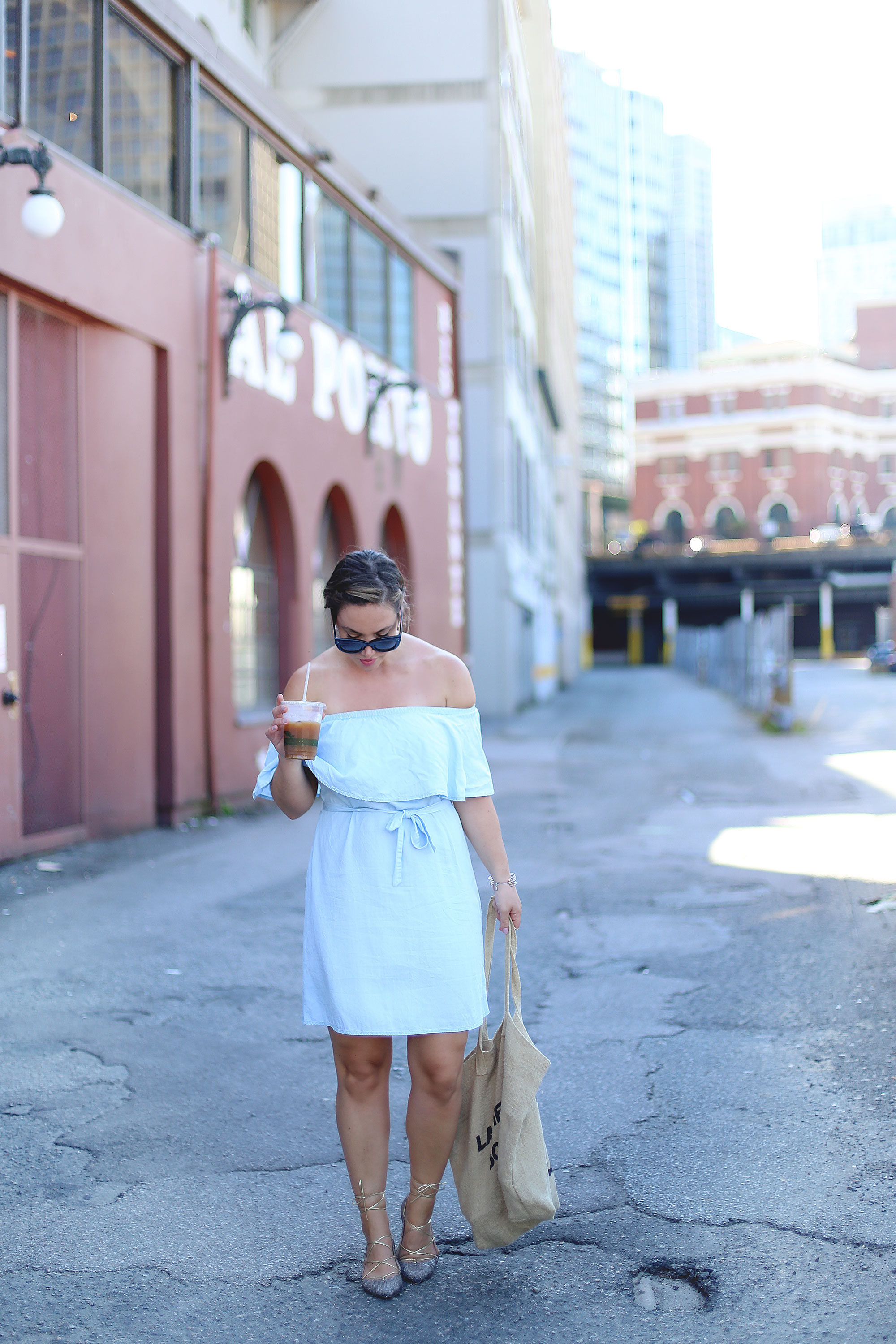 Off the shoulder dress outfit