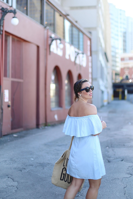 Off the shoulder dress outfit idea