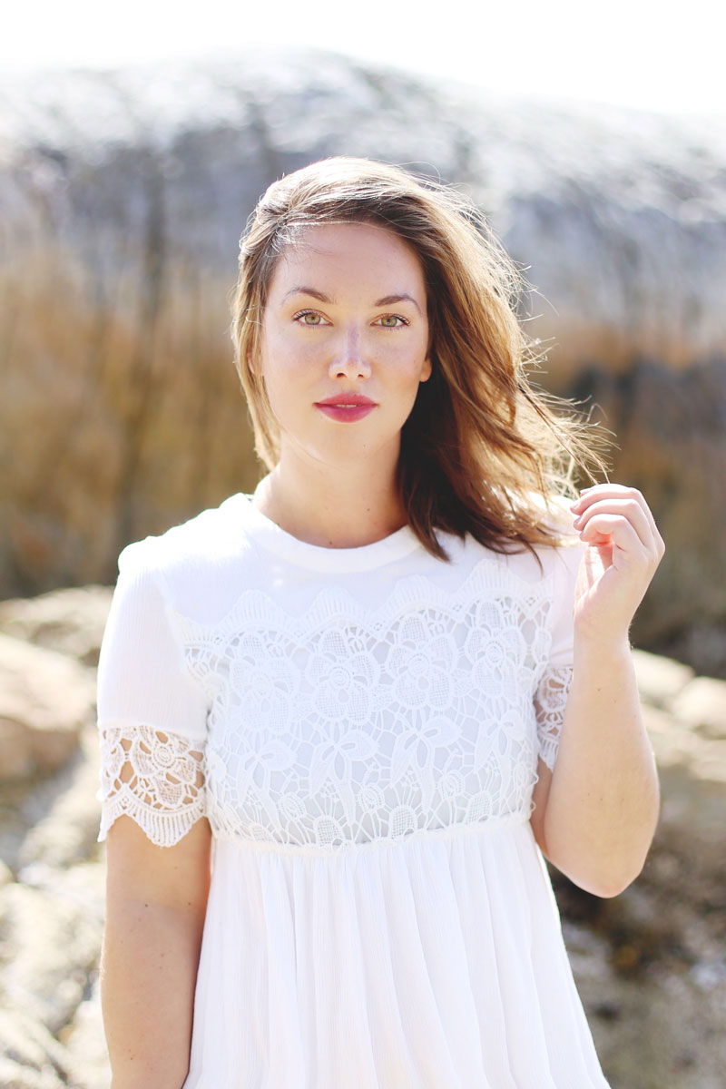 LED facial benefits - To Vogue or Bust in a white lace Joe Fresh dress