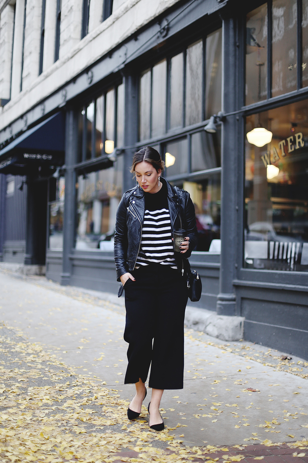 Style tips on how to wear culottes outfit idea by To Vogue or Bust in Express culottes, White + Warren cashmere striped sweater, Swarovski jewelry, Express heels, Aritzia leather bag
