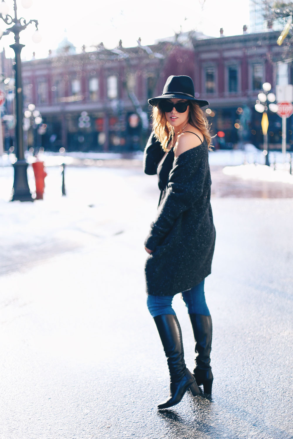 How to wear off the shoulder sweaters in White + Warren cashmere coatigan, Mavi skinny jeans, La Canadienne boots, Aritzia camisole, Express fedora, Leah Alexandra jewelry styled by To Vogue or Bust