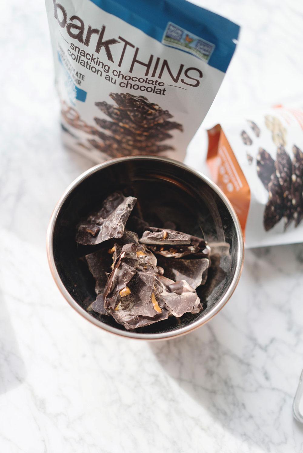 Best dark chocolate snacks, barkTHINS, betterwithbarkTHINS, snackingelevated, pumpkin seed barkTHINS, pretzel with sea salt barkTHINS, almond with sea salt barkTHINS, best snacks by To Vogue or Bust
