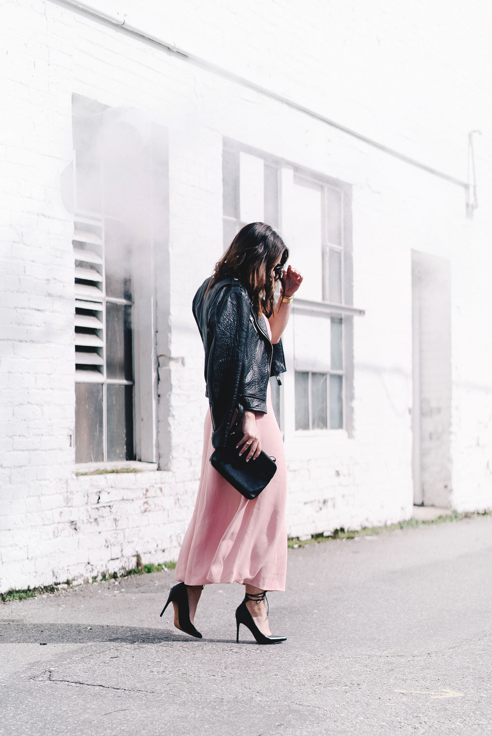 How to style pink spring trend in Aritzia dress, Mackage leather jacket, Celine Sunglasses, Cluse watch, Nine West heels, how to style spring dress, Aritzia spring 2017, how to wear pink on To Vogue or Bust