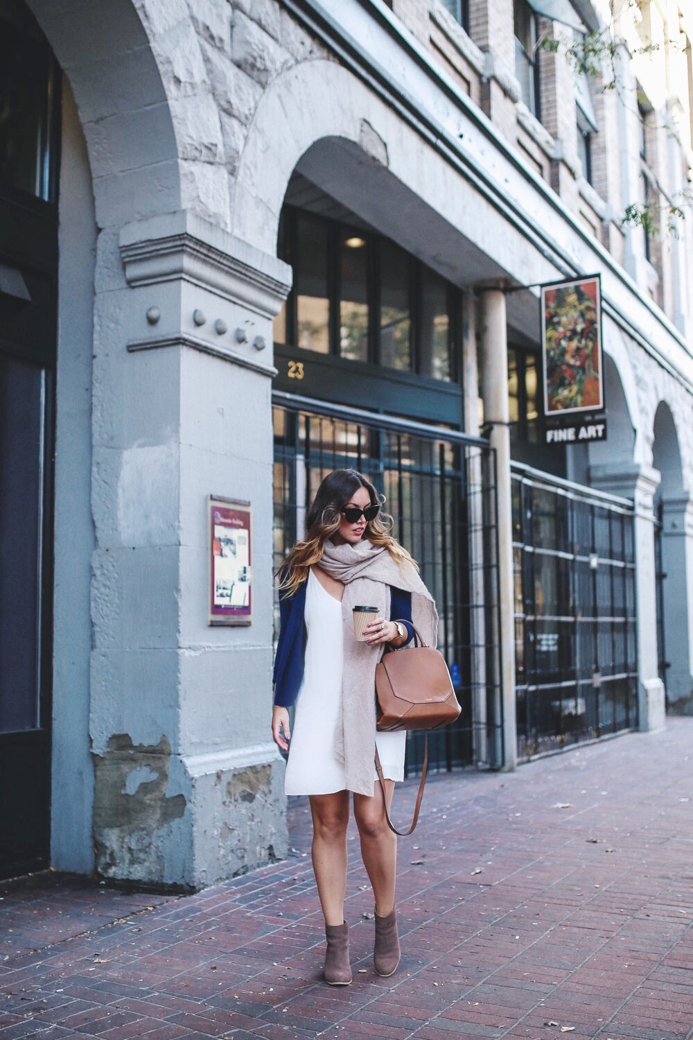 Fall transition style in an Aritzia slip dress by To Vogue or Bust