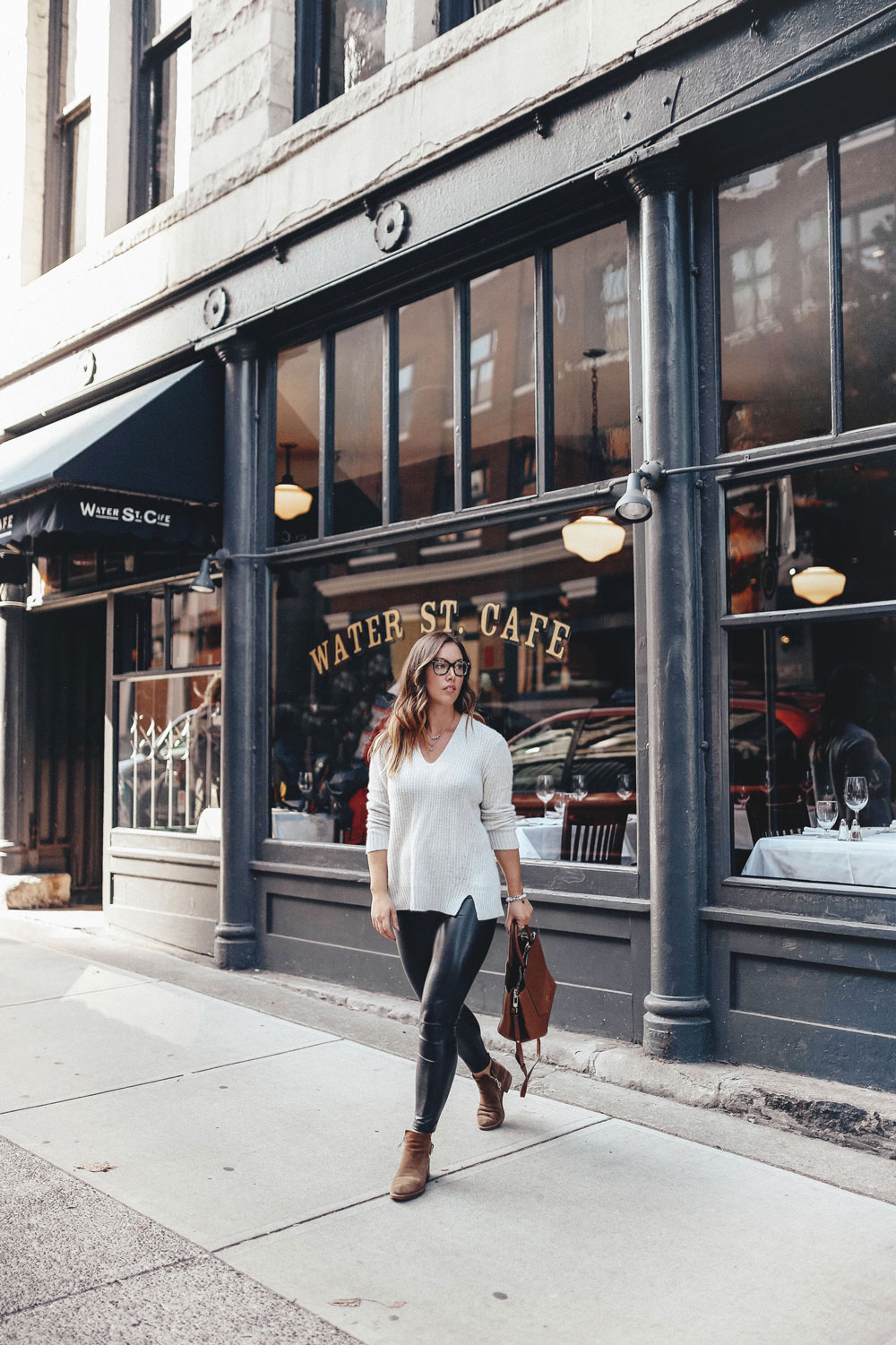 fall outfit ideas in aritzia leather leggings by To Vogue or Bust