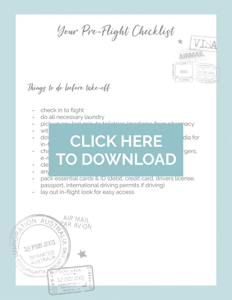 Free download of To Vogue or Bust's printable pre-trip check list!