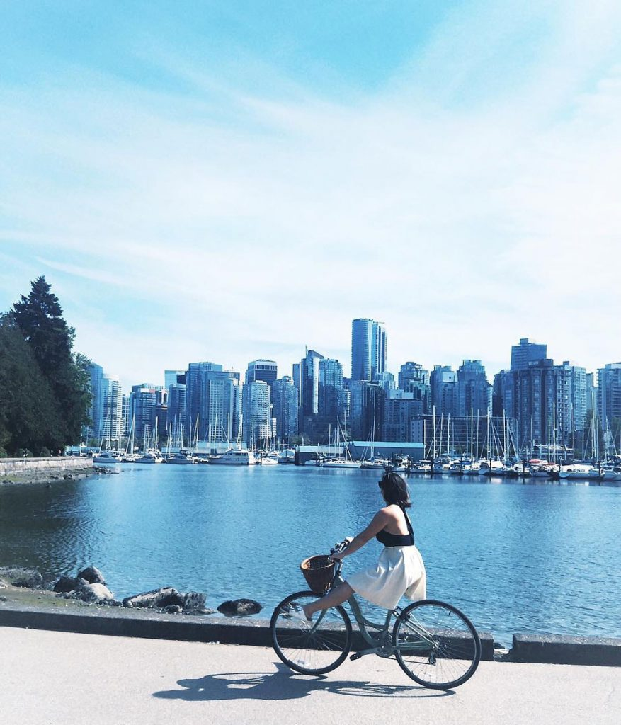 The four best bike routes in Vancouver, Canada: The Stanley Park Loop, The False Creek Seawall, The Beach Route, and The Adanac Route.