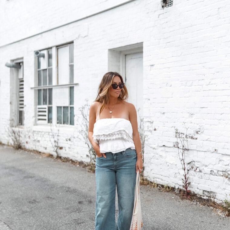 Perfect easy summer-ready cropped jeans outfit idea in Mavi Romee cropped jeans paired with a white crop top and nude Ted Baker pumps, styled by To Vogue or Bust.